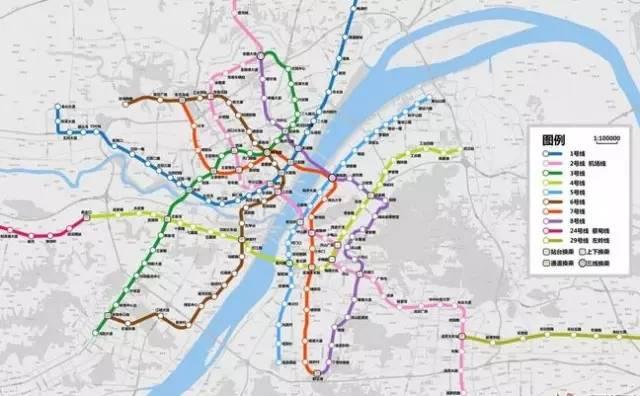 武汉地铁2020年建成示意图