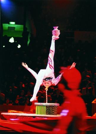 练出了获得中南杂技观摩一等奖的新《柔术武技顶碗》.